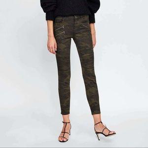Zara Camouflage Moto Skinny Jeans